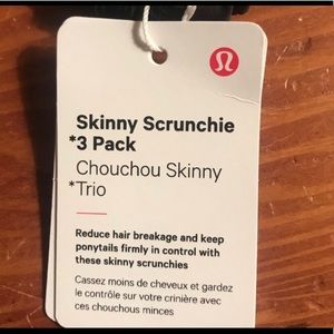 Lululemon skinny scrunchie 3 pack NWT